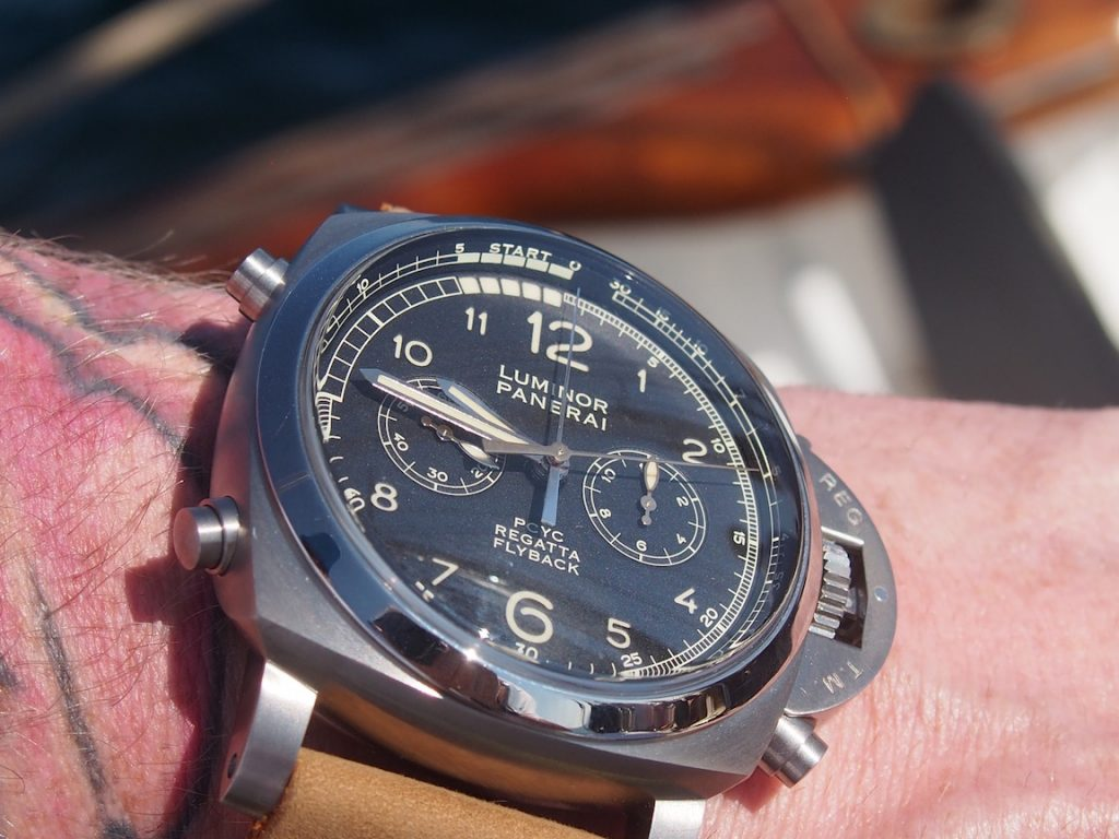 Panerai Luminor 1950 PCYC 3 Days Regatta Chrono Flyback watch in titanium 47mm case.