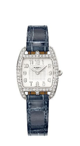 Fashion Hermes Tonneau Diamonds Silver blue Replica watch